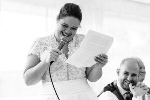 bride giving a wedding speech