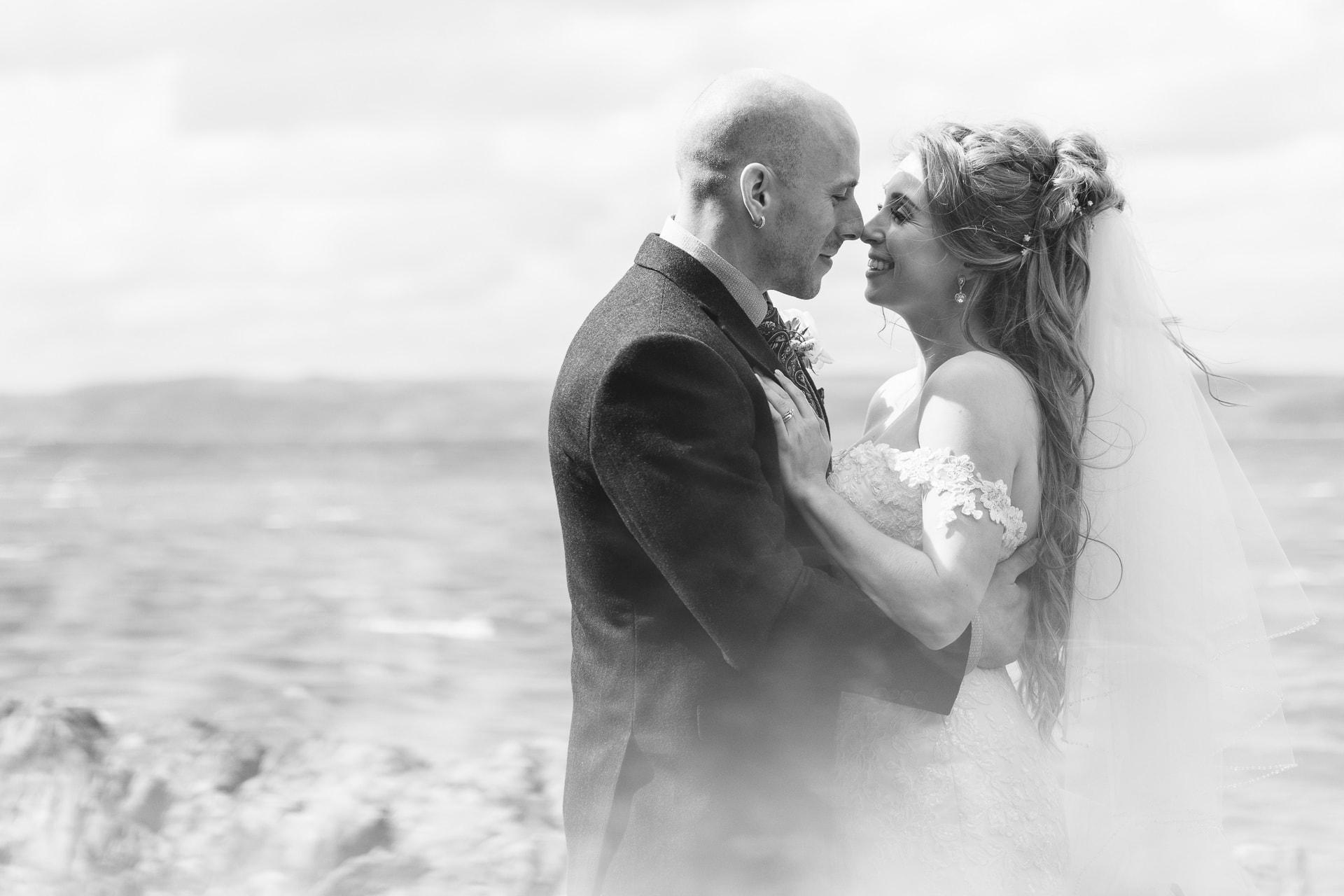 bridge and groom portrait on beach