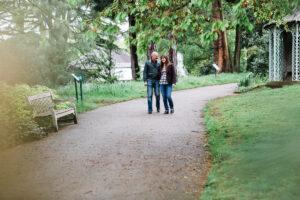couple walking at Birmingham Botanical Gardens
