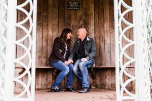 couple sat in Gazebo at Birmingham Botanical Gardens