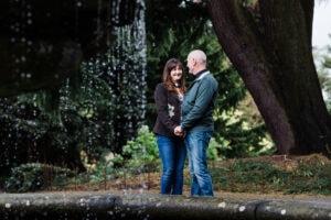 couple next to pond at Birmingham Botanical Gardens