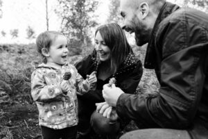 family outdoors in the woods Bedfordshire