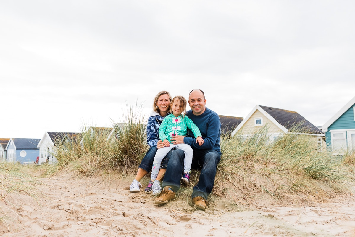 family photo on the dunes at Mudeford
