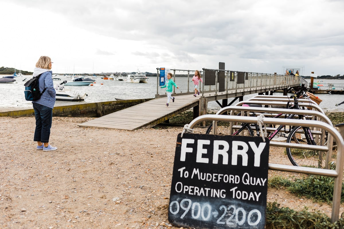 Mudeford Ferry sign and jetty