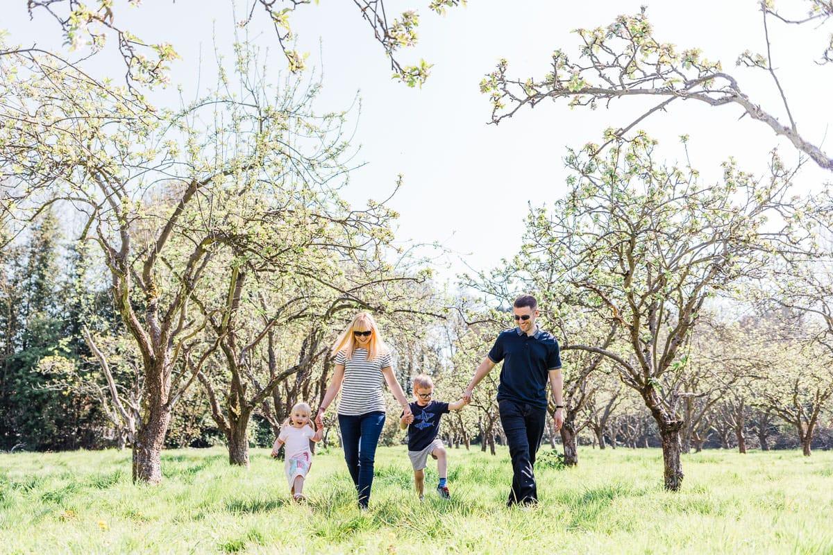 family walking at fairfield Park Stotfold