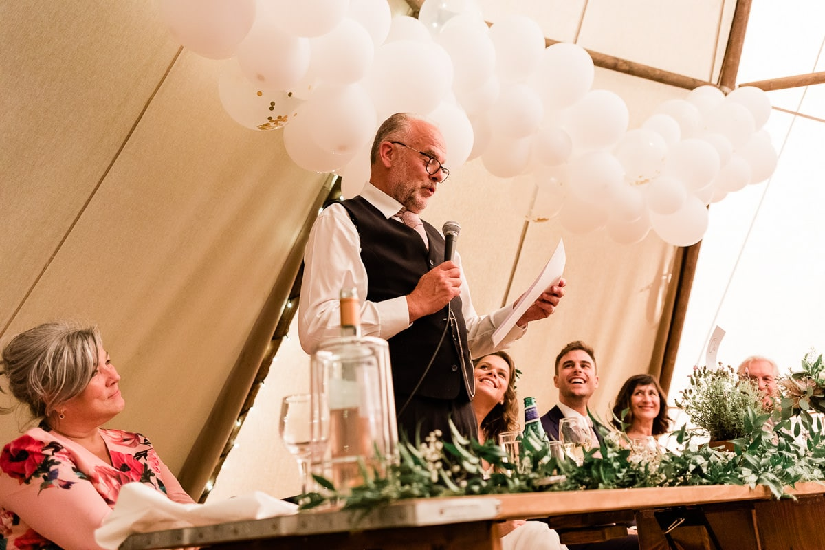 father of the bride speech at Lodge Farm House wedding