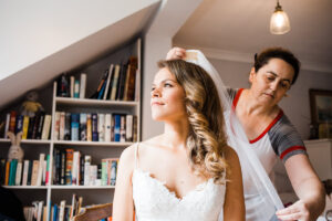 bridal having veil arranged