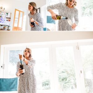 bridesmaid popping champagne
