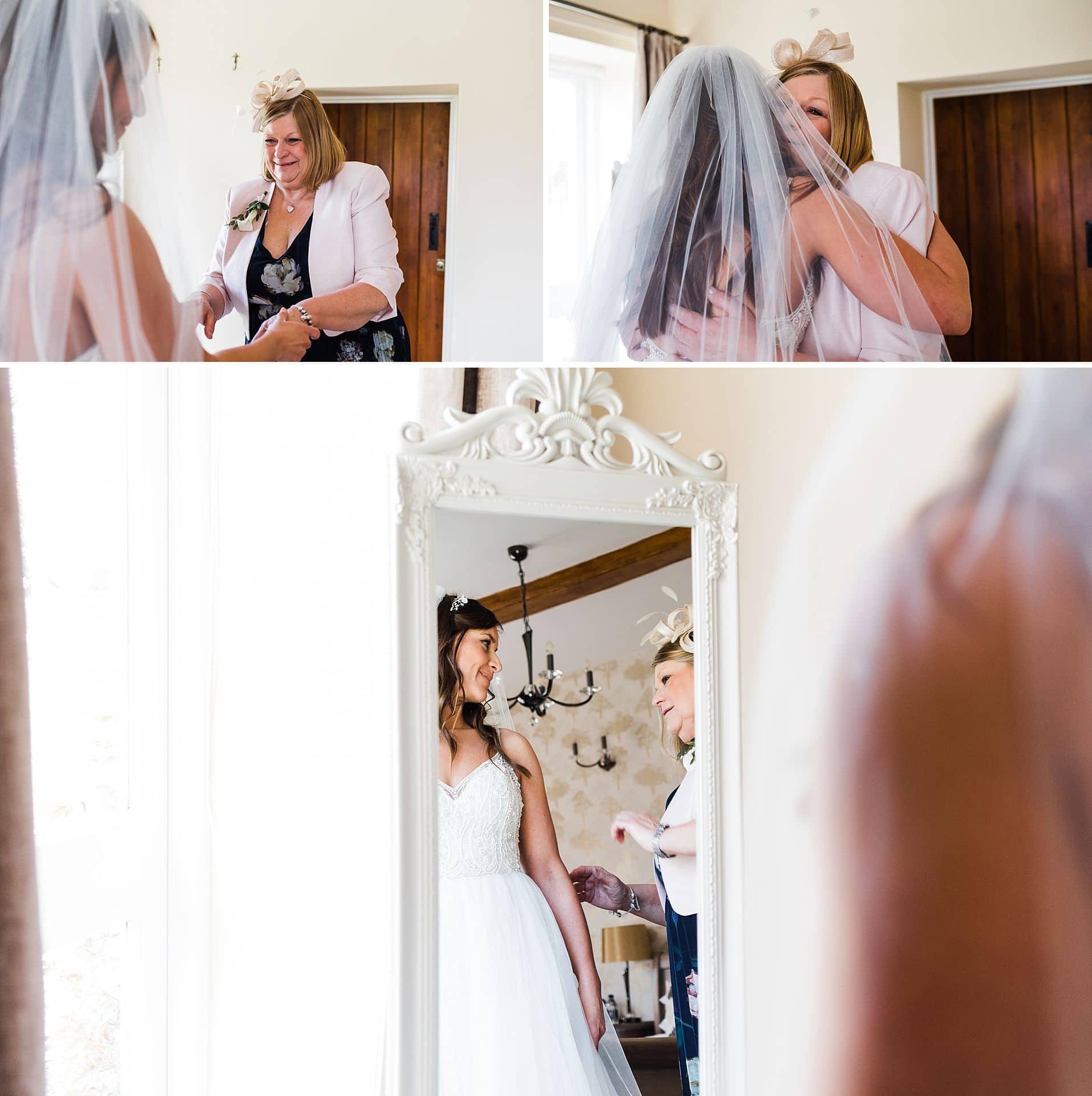bride having veil attached