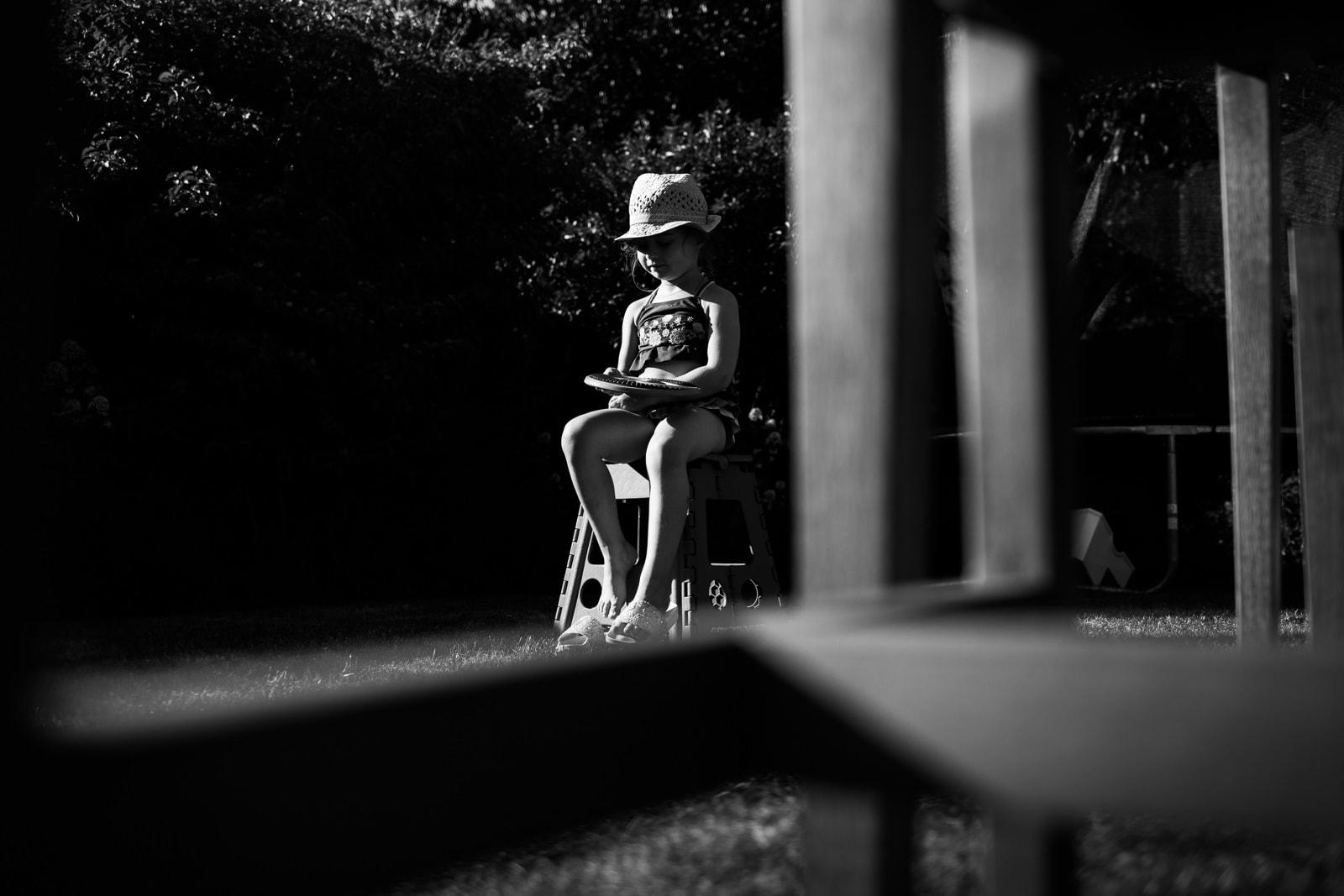 girl in garden in summer