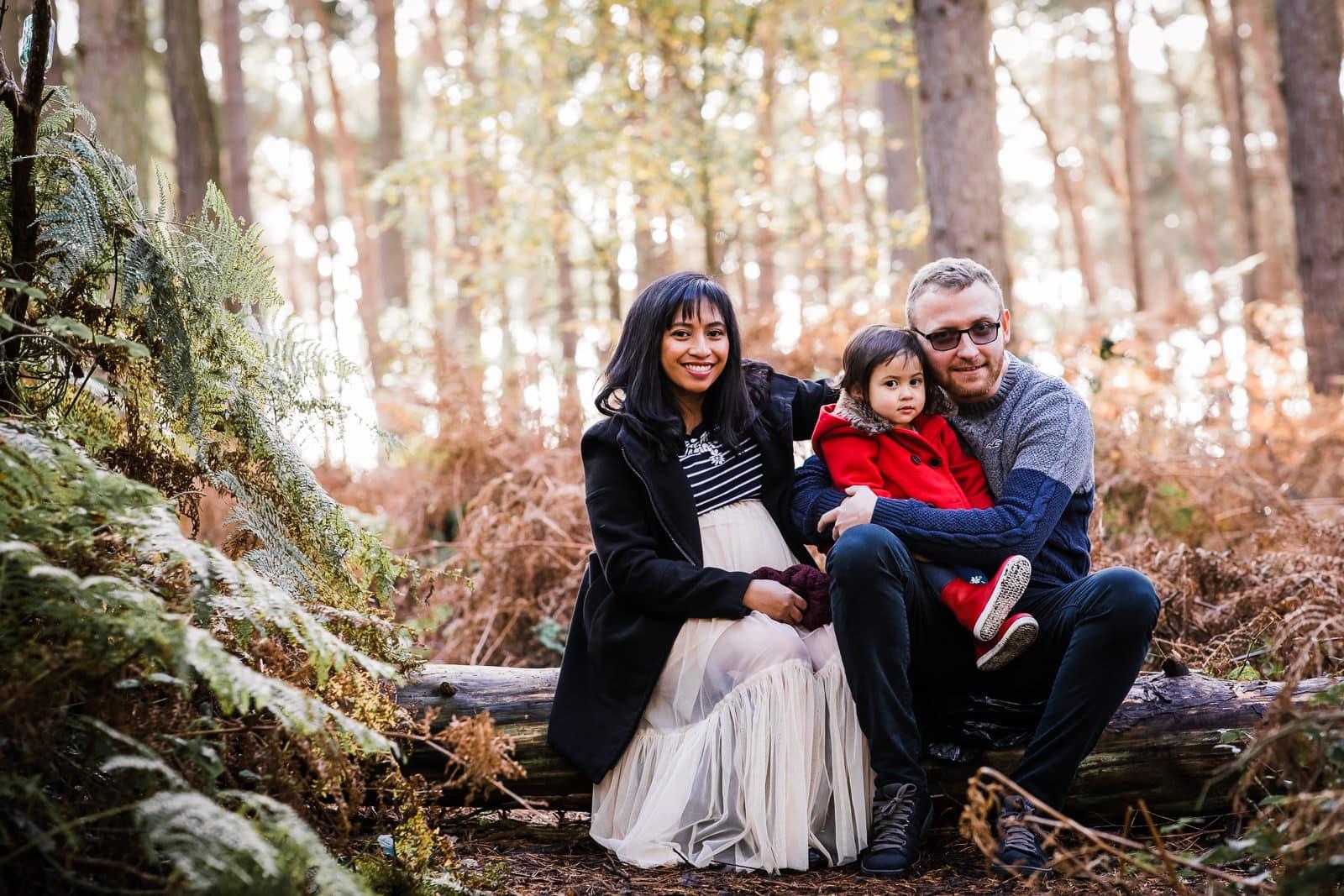 family seated on Bedfordshire woodland walk