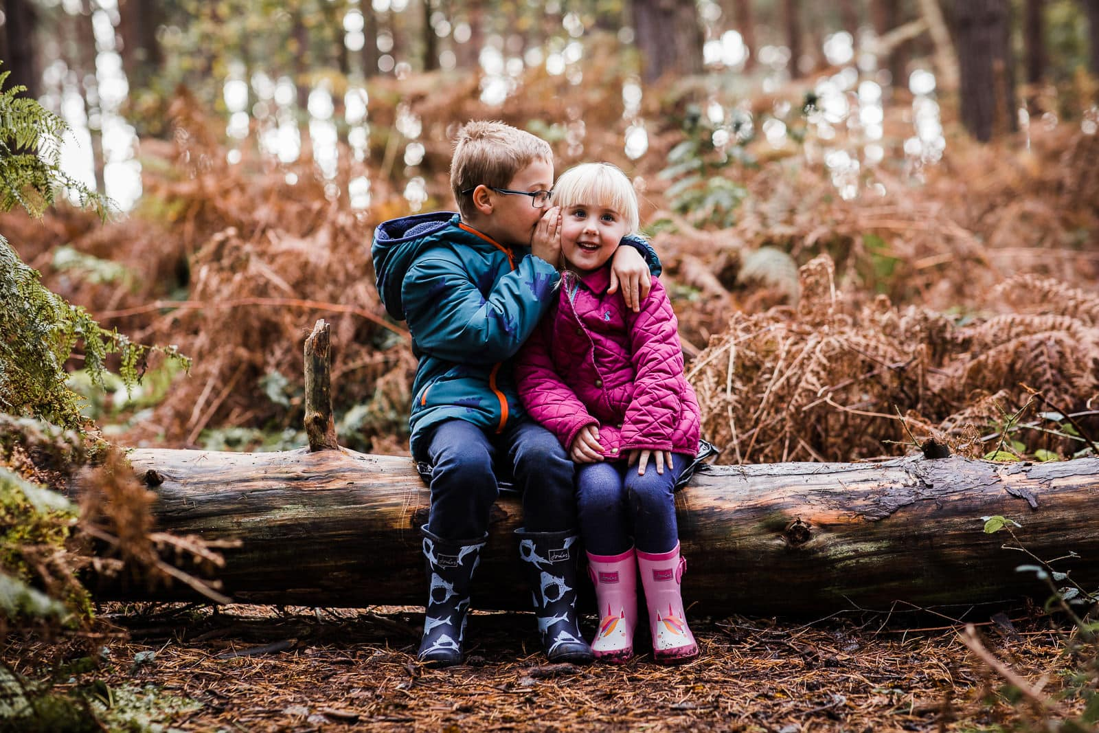 brother and sister in the woods near Hitchin